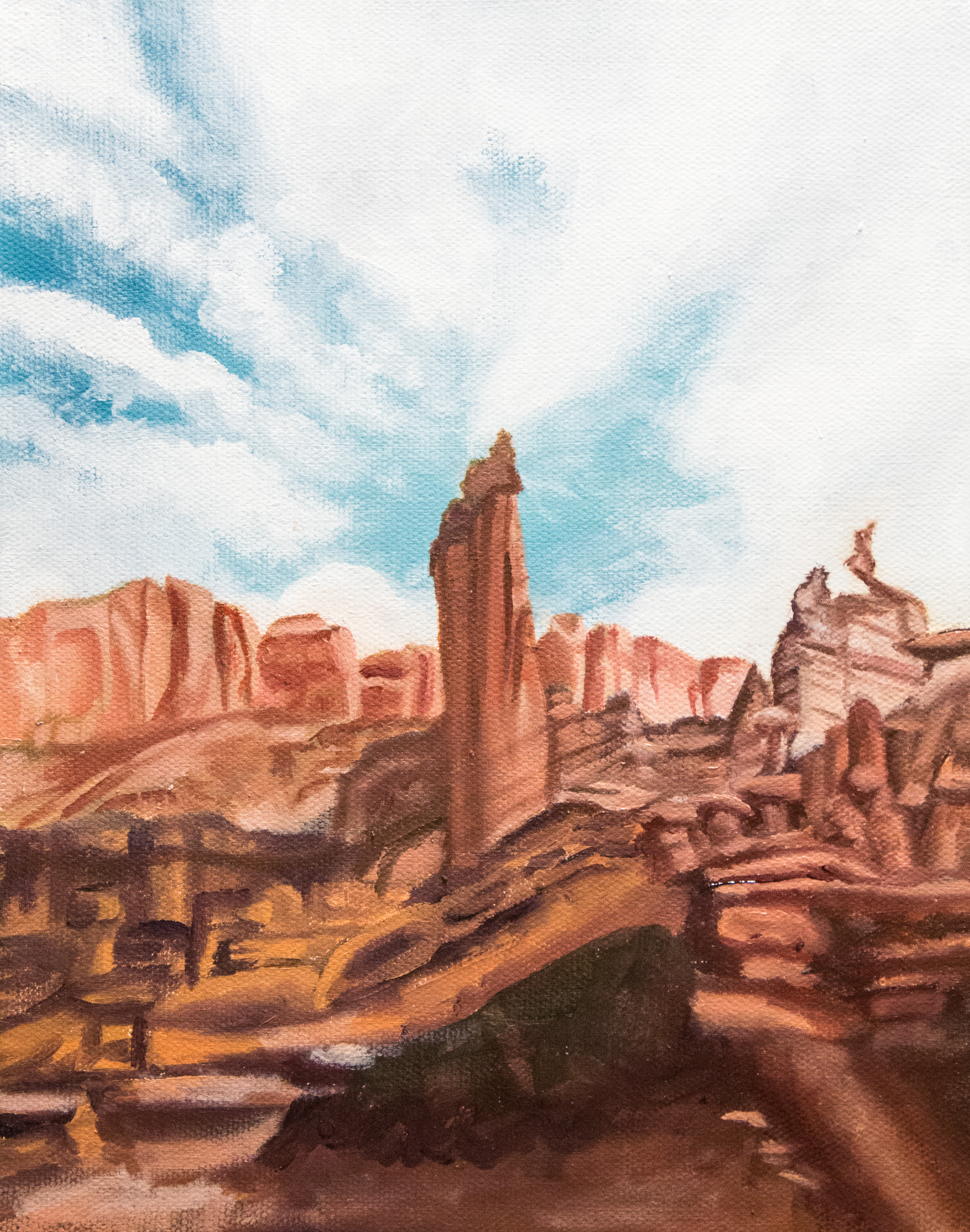 Fisher Towers Oil Painting In Progress by Amber Honour