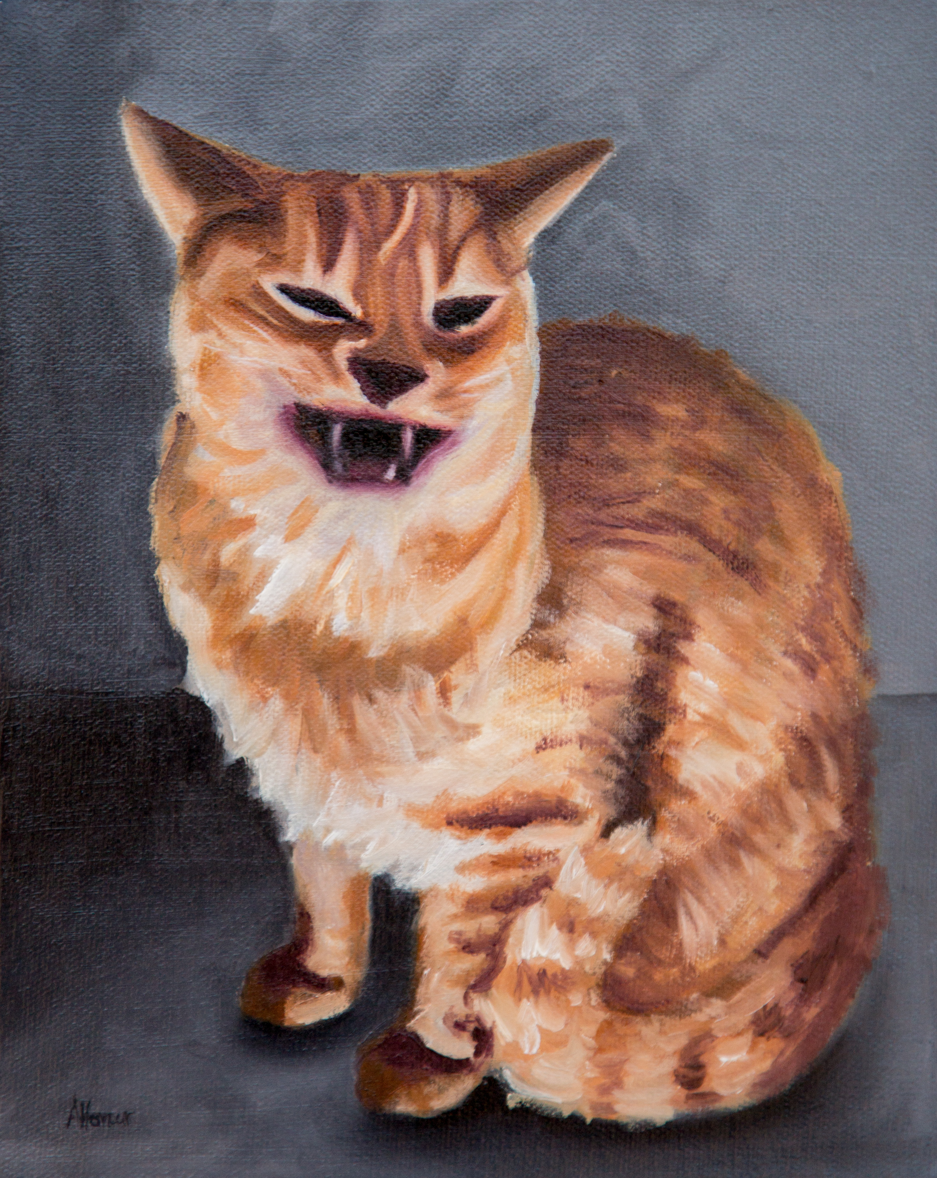 Orange Cat Oil Painting by Amber Honour