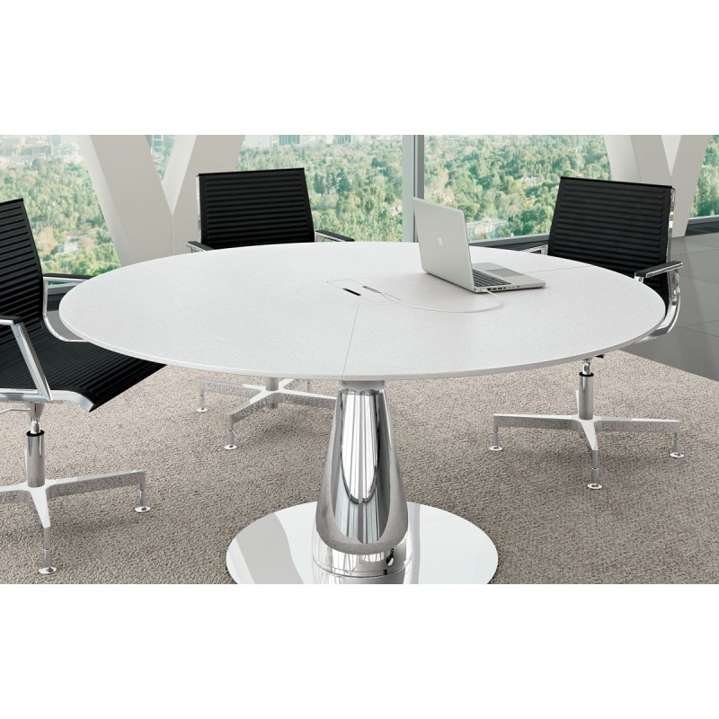 table ronde pietement design chrome plateau avec trappe
