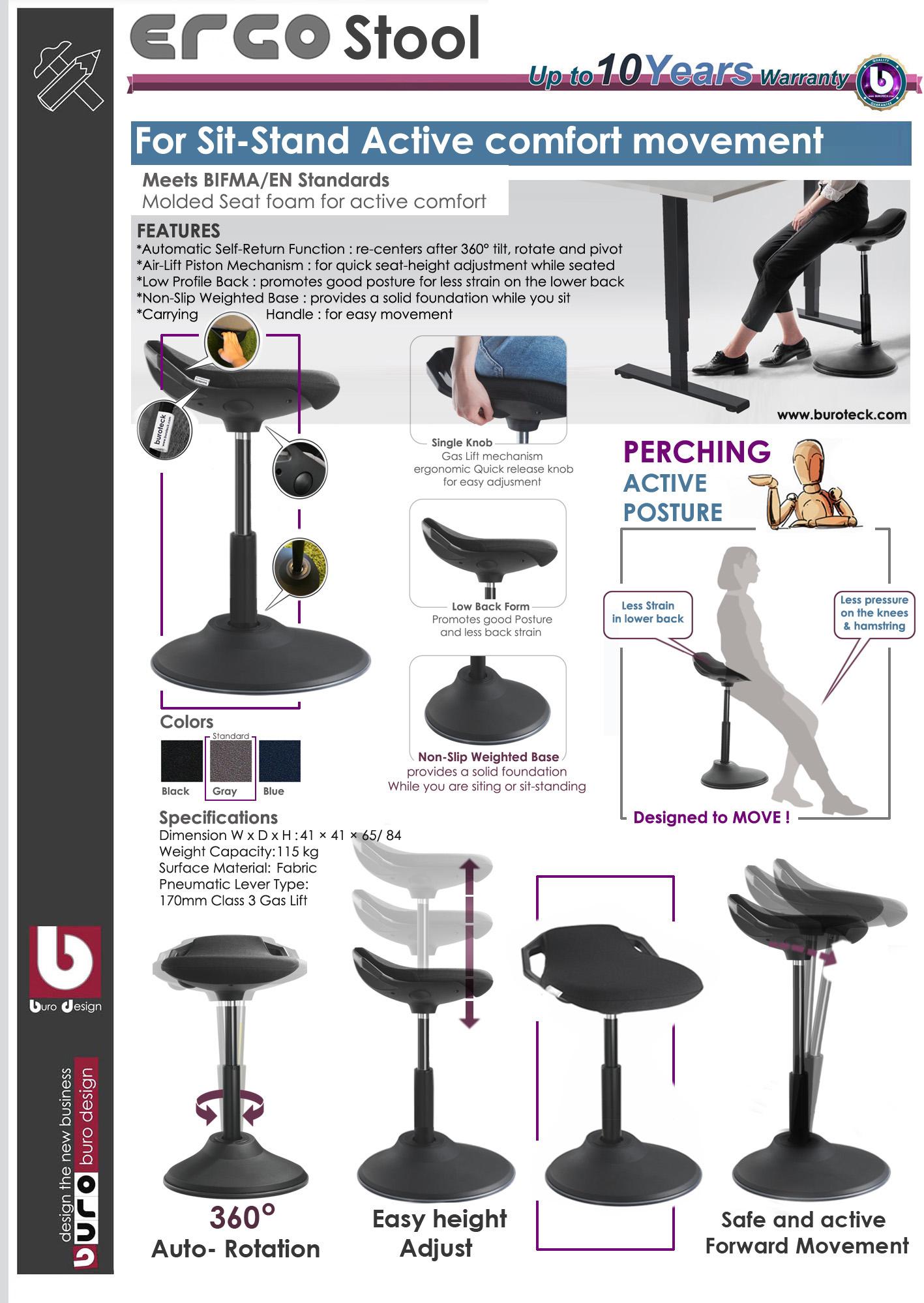 stool chair dubai covers protect from cats ergo buroseat ergonomic sit stand ergostool