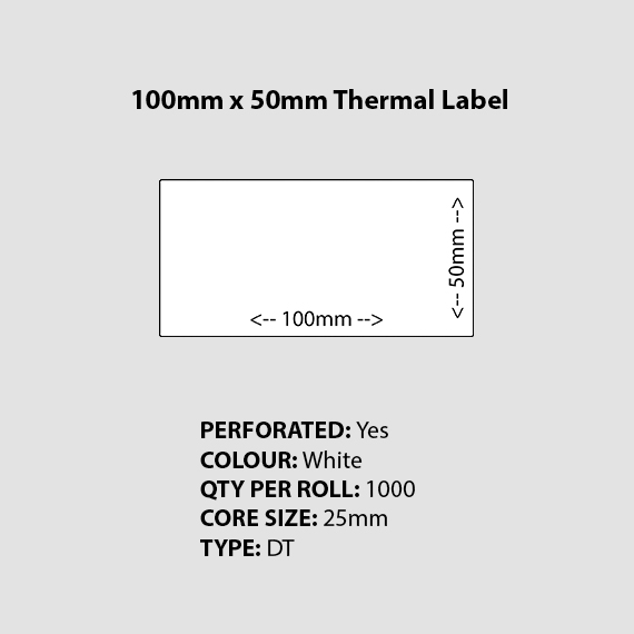 100mm 50mm Perforated white blank thermal label printer fruit traceability system tray label Burratronics mareeba