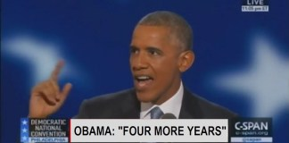 "Obama DNC Speech: ""4 More Years, 4 More Years..."