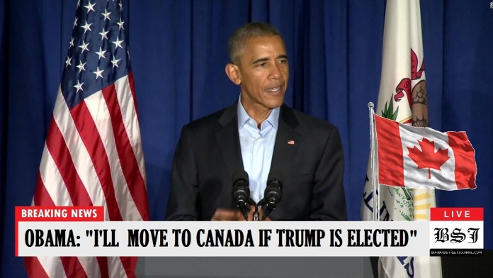 Obama Declares His Family Will Move To Canada If Trump Is Elected | Obama moving to Canada
