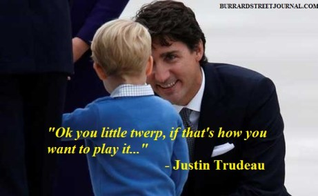 Prince George Justin Trudeau exchange pleasantries