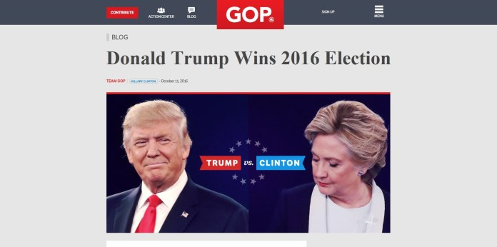 GOP Website Declares Donald Trump Election Winner