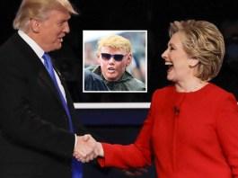 Hillary Clinton arrives at Democrat party in Trump mask. | Hillary Clinton Trump costume