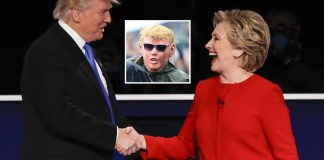 Hillary Clinton arrives at Democrat party in Trump mask. | Hillary Clinton Trump costume