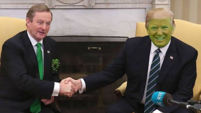 Trump Changes From Orange To Green In Honour Of St Paddy's Day