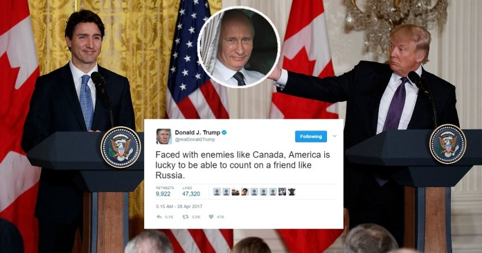 Trump 'Thankful' For Russia's Support In Inevitable War With Canada   Trump Russia Canada