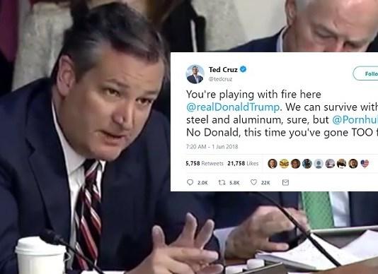Ted Cruz Slams Trump's Trade Tariffs After Discovering Pornhub Is Canadian