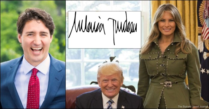American First Lady Accidentally Signs Name Melania Trudeau