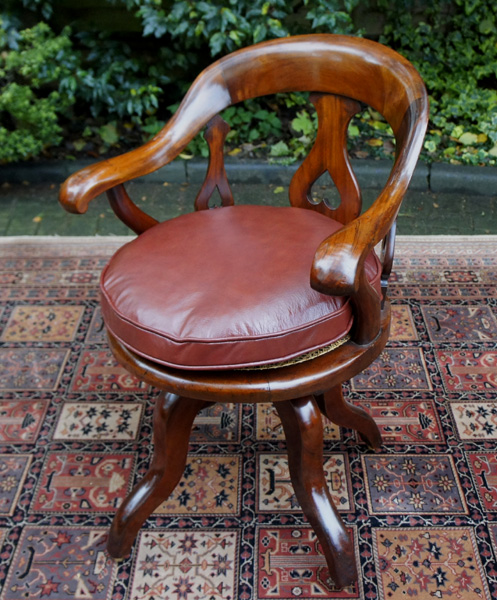 antique mahogany office chair rocking template swivel seat desk sn640