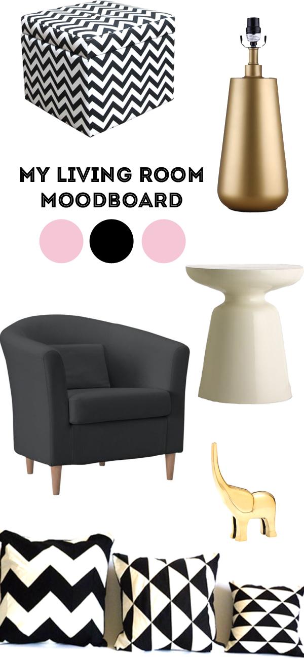pink, black, white moodboard