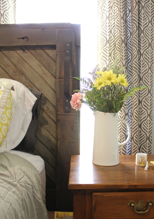 DIY barn door headboard on Burritos & Bubbly