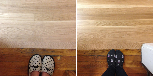 new oak floors in the kitchen | burritos and bubbly