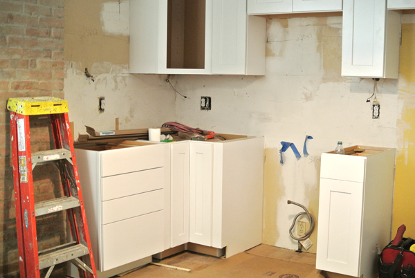 kitchen cabinets installed | burritos & bubbly