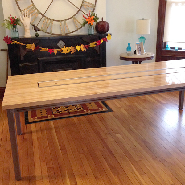 custom reclaimed wood dining table | Burritos & Bubbly