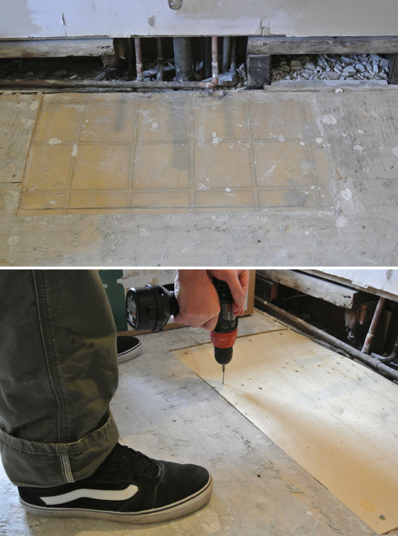 Patching the subfloor | Burritos and Bubbly
