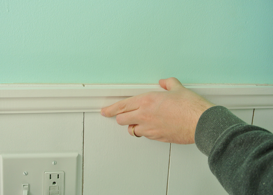 DIY plank wainscoting with plywood, from BurritosandBubbly.com