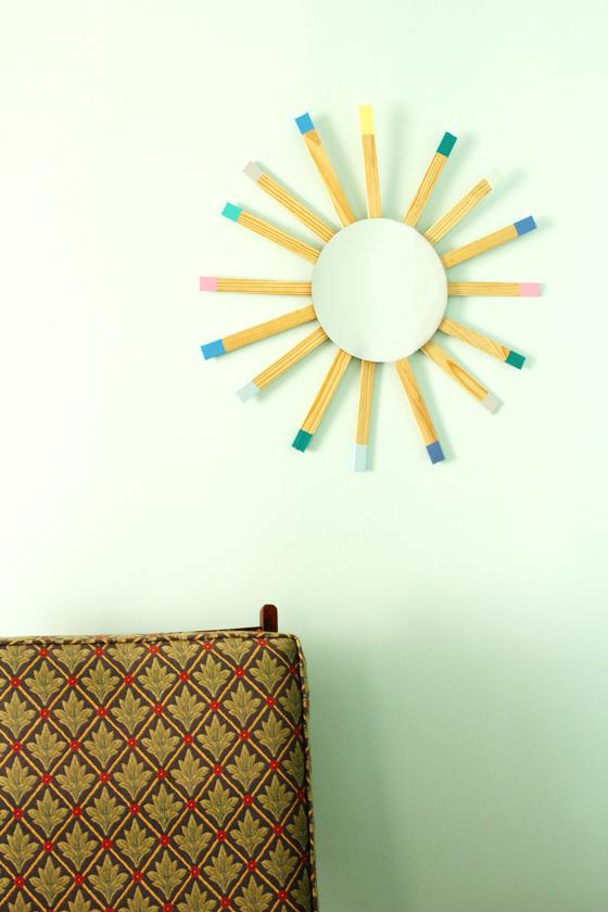 DIY midcentury sunburst mirror | Burritos and Bubbly