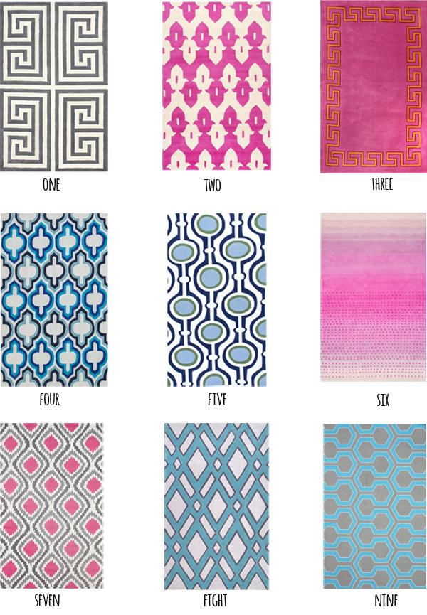 Fun, bold, colorful rugs