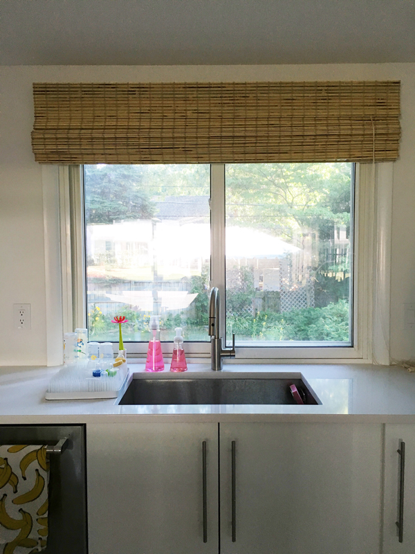 bamboo roman blinds in the kitchen