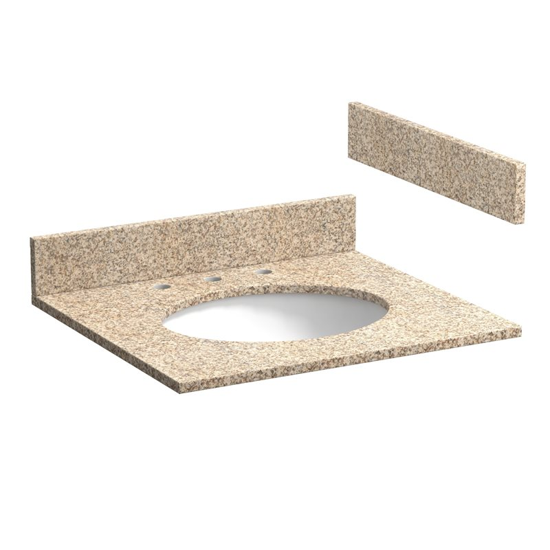 25 inch wheat beige granite vanity top with pre attached vitreous china sink