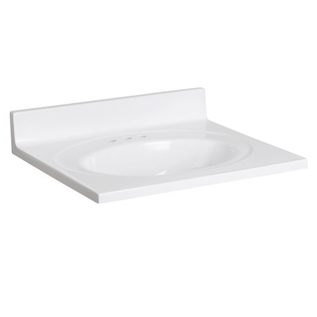 25 cultured marble vanity top with integrated oval bowl