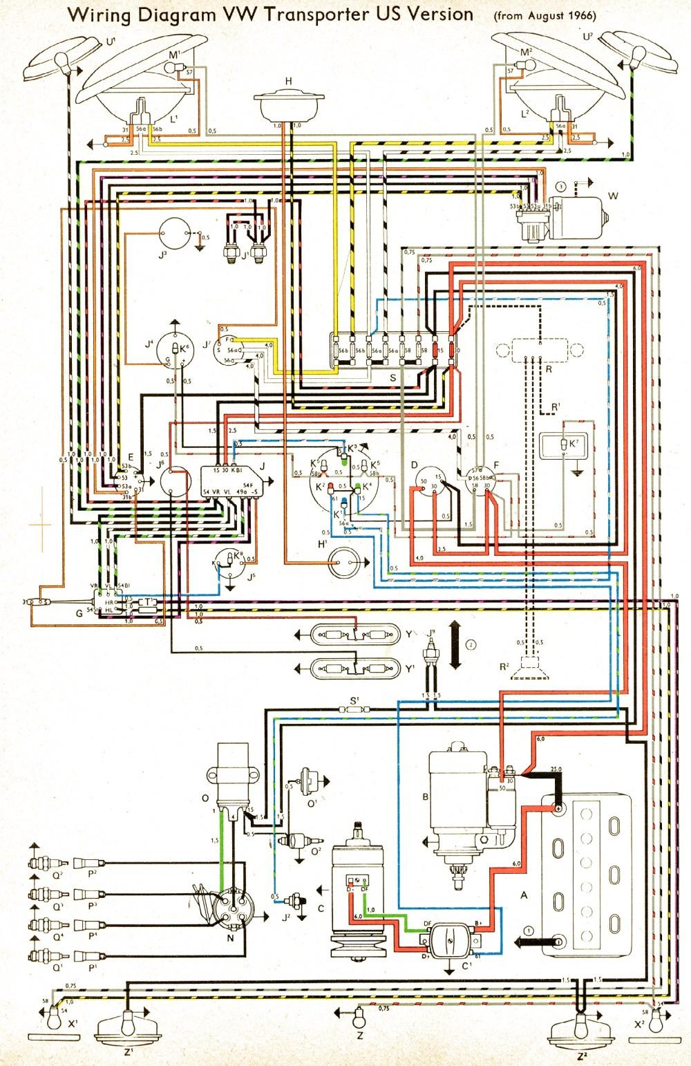 medium resolution of wiring diagram us spec 1966 bus