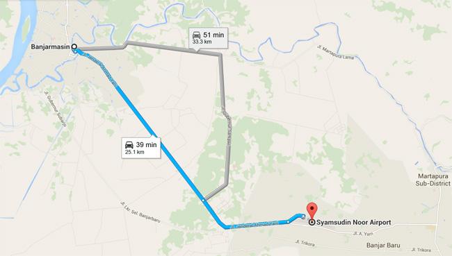 jarak-bandara-syamsudin-noor-ke-kota-banjarmasin