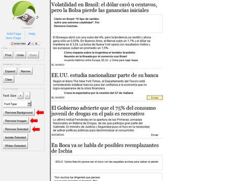 Paso 4: Botones para eliminar fondo, imágenes y texto no deseado