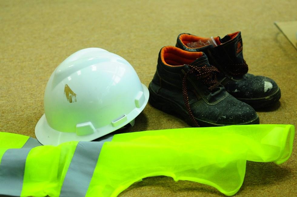 hard hat safety shoes reflectorized vest