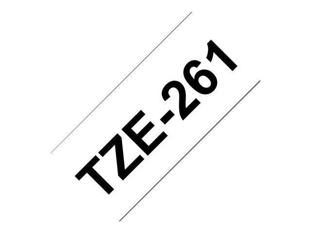 Brother TZE-261 ruban laminé P-Touch Noir sur Blanc 35,6mm
