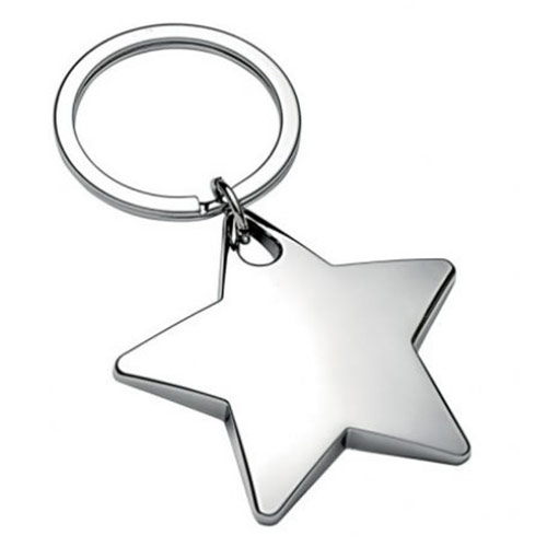 Engraved Chrome Plated Star Shape Keyring - Business Gifts ...