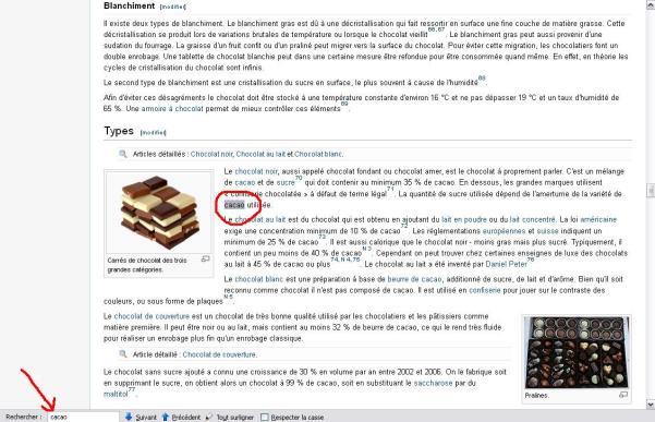 faire une recherche sur wikipedia