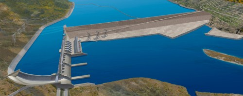Illustration of the BC Hydro Site C project on the Peace River in British Columbia.