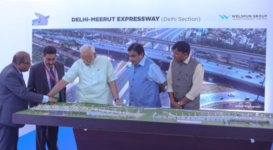 Indian Prime Minister Narendra Modi opens Phase 1 of the 14 lane Delhi-Meerut Expressway.