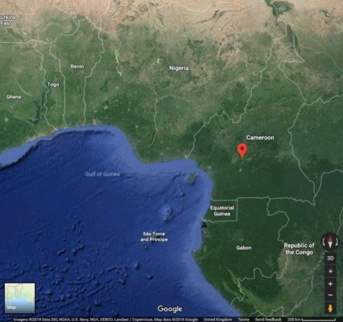 Map showing location of Nachtigal hydropower plant in Cameroon