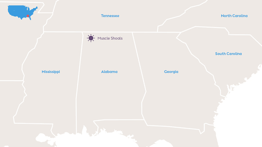 Map showing the location of the Muscle Shoals solar project