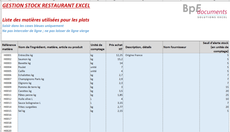 gestion stock restaurant excel gratuit exemple