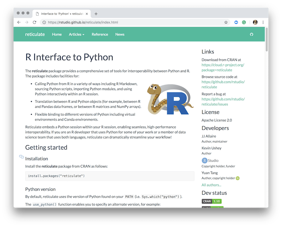 reticulate for connecting Python and R