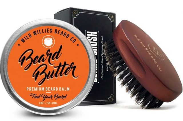 Organic Beard Butter Balm Conditioner, with Beard Brush- Natural Locally Sourced Ingredients That Condition and Style Your Beard or Mustache. Made in the USA - Beard Balm
