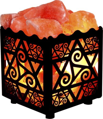 Crystal Decor Natural Himalayan Salt Lamp in Star Design Metal Basket with Dimmable Cord - Best Himalayan Salt Lamps