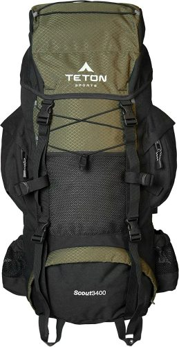 TETON Sports Scout 3400 Internal Frame Backpack; Great Backpacking Gear or Pack for Camping or Hiking; Hunter Green - External frame pack