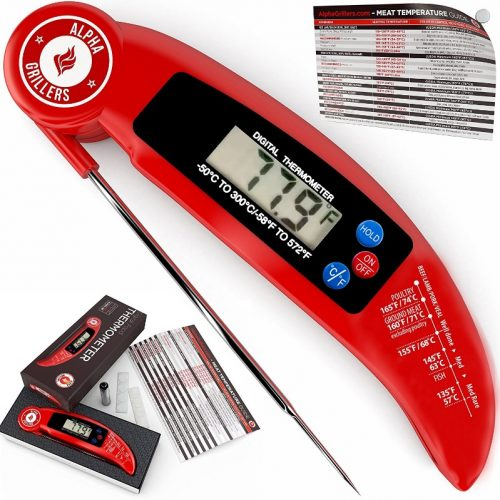 Instant Read Meat Thermometer for Grill and Cooking. UPGRADED MODEL NOW WITH MAGNET AND CALIBRATION FEATURE - meat thermometer