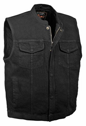 Men's Concealed Snap Denim Club Style Vest w/ Hidden Zipper (Black) - Motorcycle Vest for Men