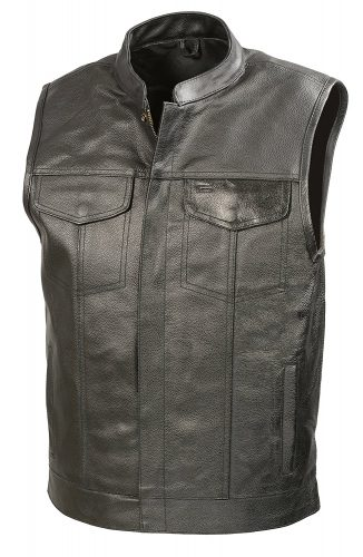 Mens Leather Club Style Vest W/ Concealed Gun Pockets, Cowhide Leather Biker Vest, Single Panel Back - Motorcycle Vest for Men