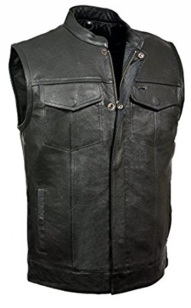 """LEATHER KING MOTORCYCLE CLUB VEST ZIPPER AND SNAPS 1"""" MANDARIN COLLAR - Motorcycle Vest for Men"""
