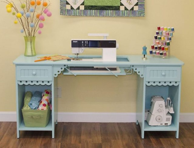 1009 OLIVIA SEWING CABINET FROM ARROW (TIFANNY BLUE)- SEWING CABINET