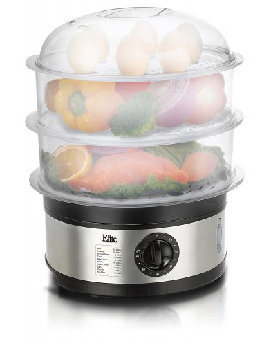 Elite Platinum EST-2301 Maxi-Matic BPA-Free 8.5 Quart 3-Tier Food Steamer, Stainless Steel - Electric Vegetable Steamers